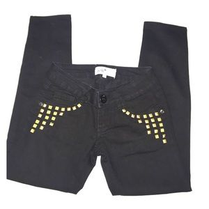 Black jeans with gold studs